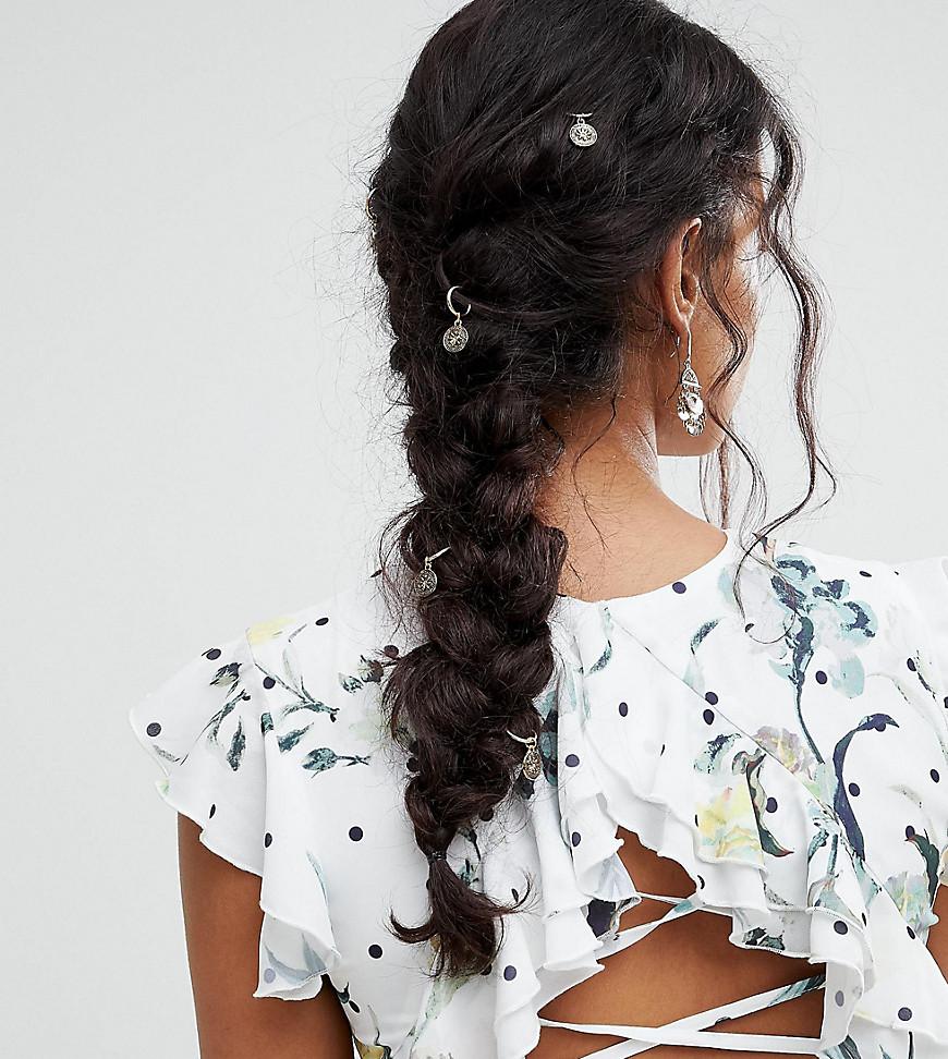 Fashion Shop - ASOS Pack of 6 Filigree Disc Hair Rings - Gold