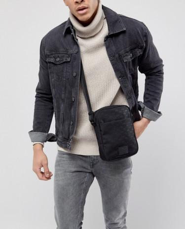 Fashion Shop - Armani Exchange Nylon All Over Ax Logo Flight Bag In Black - Black