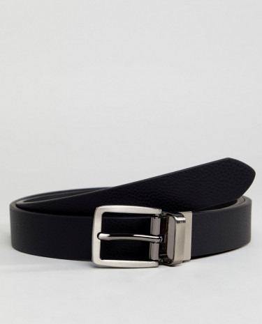 Fashion Shop - Ben Sherman Skinny Reversible Leather Belt - Black