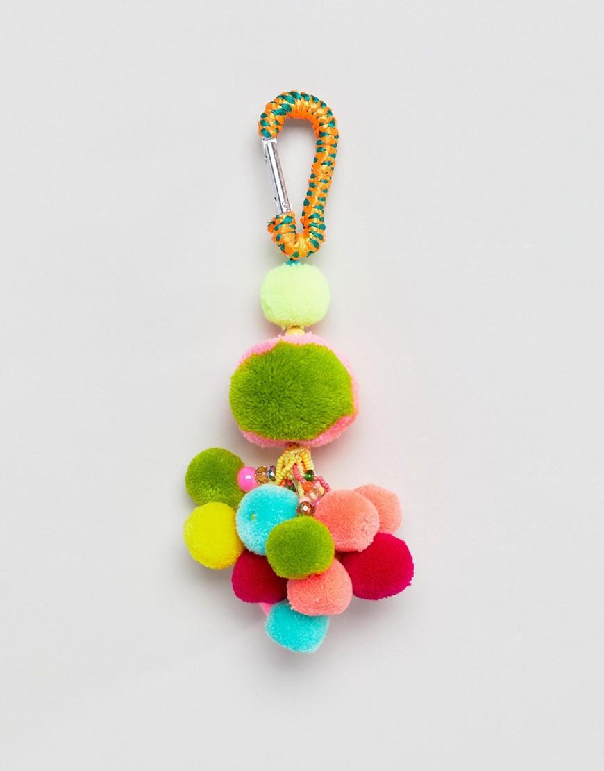 Fashion Shop - Bershka Rainbow Pom Pom Keyring - Multi