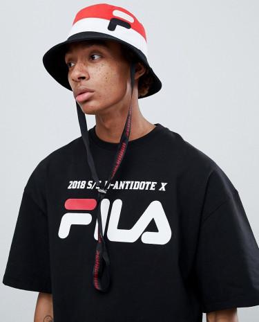 Fashion Shop - D-Antidote x Fila Bucket Hat With Logo - Black