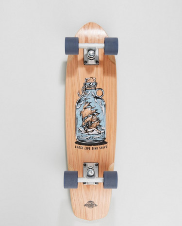 Fashion Shop - D Street Cherry Loose Lips cruiser skateboard - 7.25in x 28in - Brown