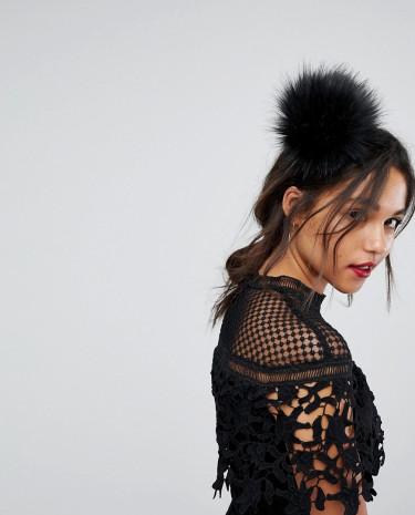 Fashion Shop - Johnny Loves Rosie Oversized Fluffy Pom Headband - Black