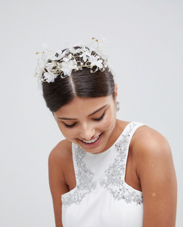 Fashion Shop - LoveRocks London Ethereal Floral Bridal Hair Crown - White
