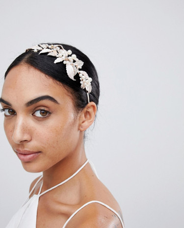 Fashion Shop - LoveRocks London Rose Gold Leaf & Pearl Hairband - Gold
