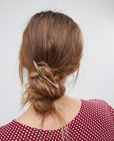 Fashion Shop - Orelia Brushed Navette Barrette Hair Clip - Gold