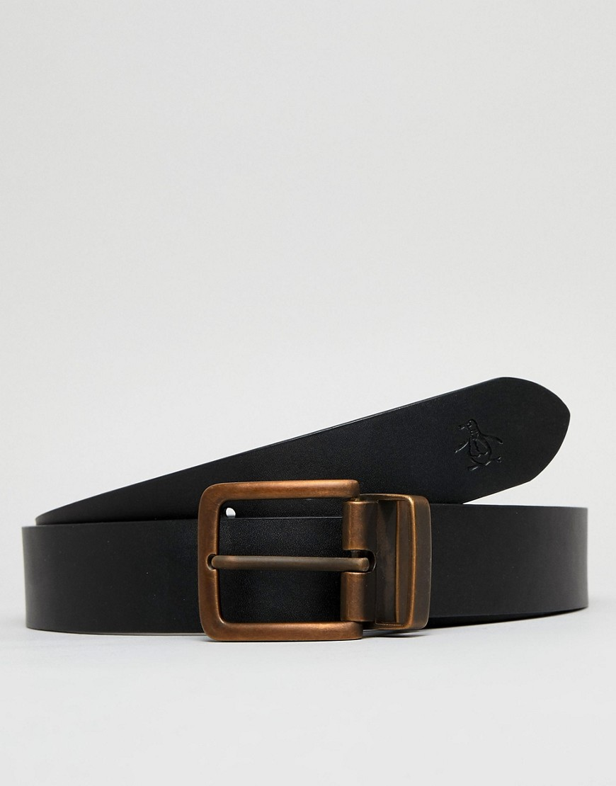 Fashion Shop - Original Penguin Vegan Reversible Belt - Black