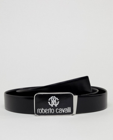 Fashion Shop - Roberto Cavalli Skinny Logo Leather Belt - Black