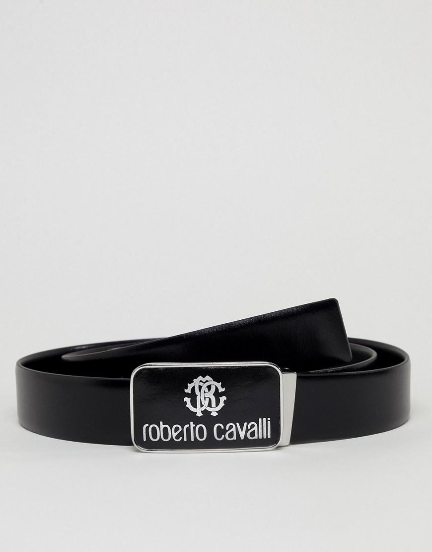 Fashion Shop - Roberto Cavalli Skinny Logo Leather Belt - Black