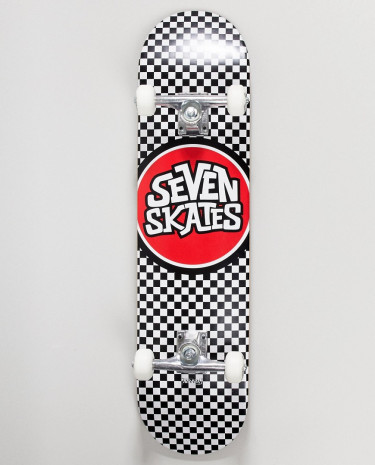 Fashion Shop - Seven Skates checkered black skateboard - 7.8 - Black