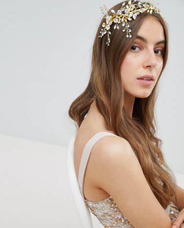 Fashion Shop - Stone & Rose Wired Navette Leaf Head Piece - Gold