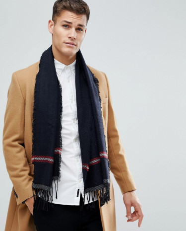Fashion Shop - United Colors of Benetton Wool Mix Scarf With Stripe Detail - Navy