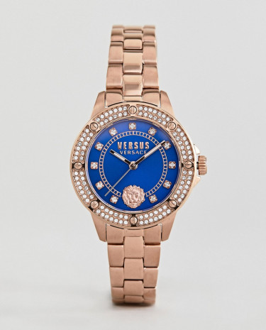 Fashion Shop - Versus Versace South Horizons S2905 Crystal Bracelet Watch In Rose Gold 33mm - Gold