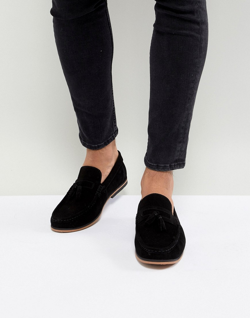 Fashion Shop - ASOS DESIGN Tassel Loafers In Black Suede With Natural Sole - Black
