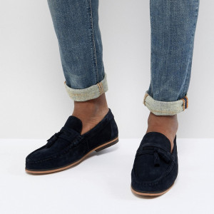 Fashion Shop - ASOS DESIGN Tassel Loafers In Navy Suede With Natural Sole - Navy