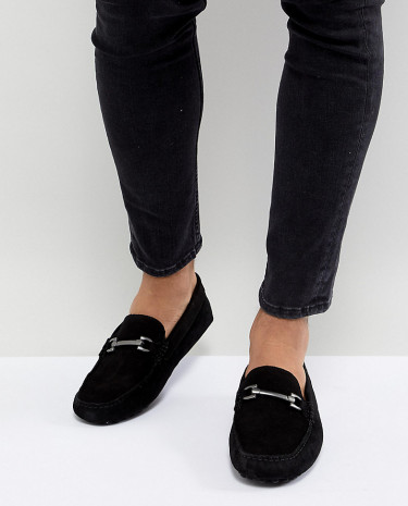 Fashion Shop - ASOS DESIGN Wide Fit Driving Shoes In Black Suede With Snaffle - Black