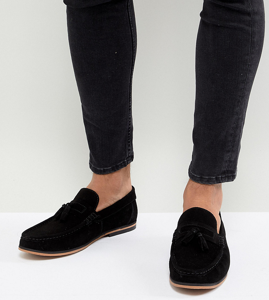 Fashion Shop - ASOS DESIGN Wide Fit Tassel Loafers In Black Suede With Natural Sole - Black