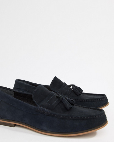 Fashion Shop - ASOS DESIGN Wide Fit Tassel Loafers In Navy Suede With Natural Sole - Navy