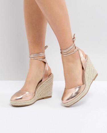 Fashion Shop - ASOS JUICIEST Espadrille Wedges - Gold