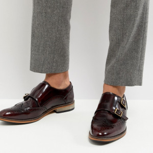 Fashion Shop - ASOS Monk Shoes In Burgundy Leather With Natural Sole - Red