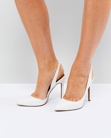 Fashion Shop - ASOS PREFECT Slingback Pointed Heels - White