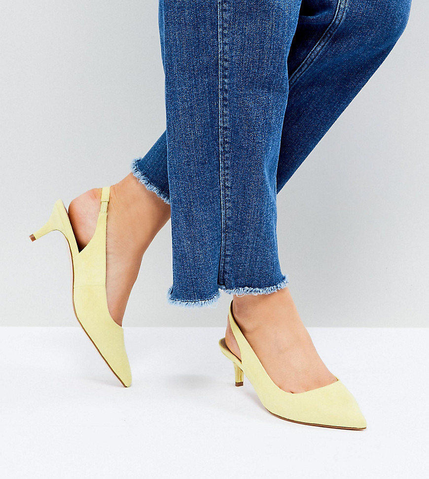 Fashion Shop - ASOS SPIRIT Wide Fit Slingback Kitten Heels - Yellow
