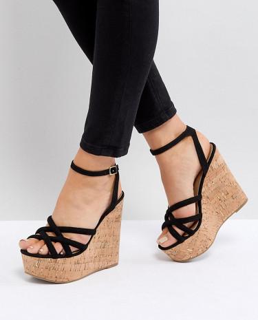 Fashion Shop - ASOS TULITA Wide Fit High Wedges - Black