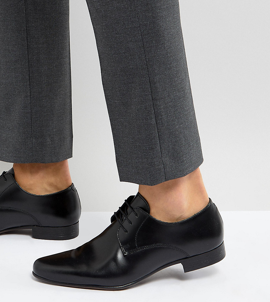 Fashion Shop - ASOS Wide Fit Derby Shoes in Black Leather - Black