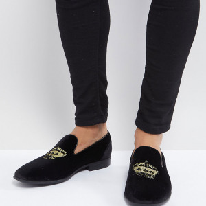 Fashion Shop - ASOS Wide Fit Loafers In Black Velvet With Crown Embroidery - Black