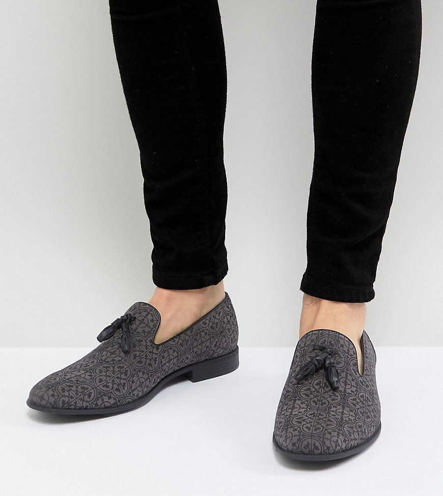 Fashion Shop - ASOS Wide Fit Tassel Loafer in Grey and Black Print - Grey