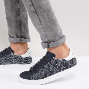 Fashion Shop - Armani Exchange All Over Logo Sneakers In Navy - Navy