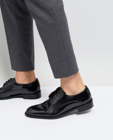Fashion Shop - Base London Rexley Hi Shine Derby Shoes in Black - Black