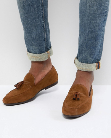 Fashion Shop - Burton Menswear Faux Suede Loafer With Tassels In Brown - Brown