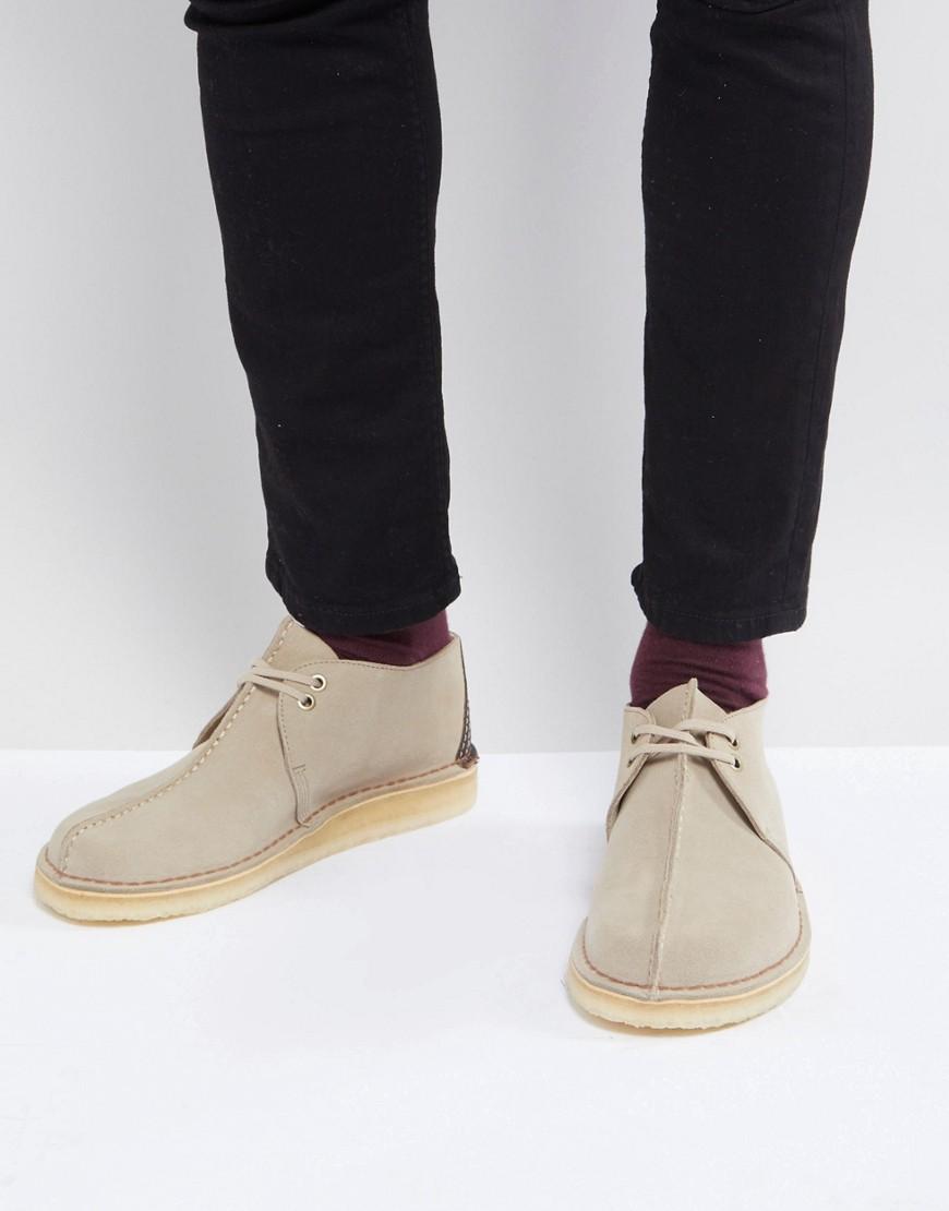 Fashion Shop - Clarks Originals Desert Trek Suede Shoes In Stone - Stone