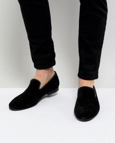 Fashion Shop - Dune Suede Slipper Loafers Black Suede - Black