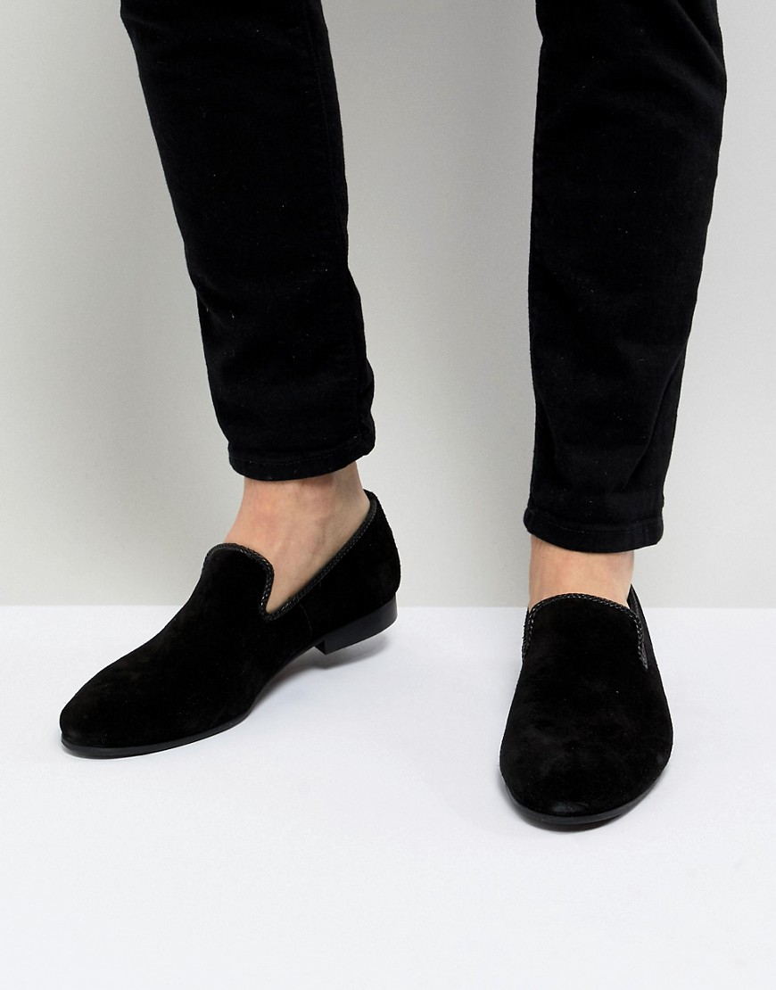 Fashion Shop - Dune Suede Slipper Loafers Black Suede - Black
