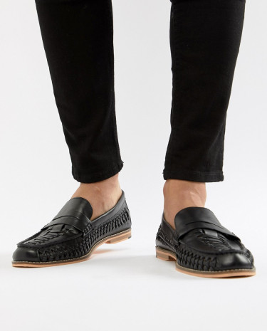 Fashion Shop - Frank Wright Woven Loafers In Black Leather - Black