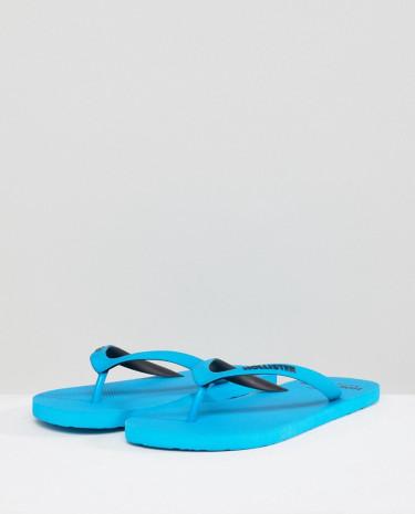 Fashion Shop - Hollister Solid Rubber Logo Flip Flop in Blue - Blue