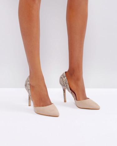 Fashion Shop - Little Mistress Contrast Snake Point high Heels - Beige