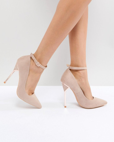 Fashion Shop - Lost Ink Hero Taupe Hero Heel Court Shoes - Grey