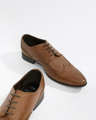 Fashion Shop - New Look Faux Leather Brogue Shoes In Tan - Tan