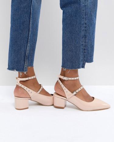 Fashion Shop - RAID Kenna Block Heel Studded Shoes - Beige