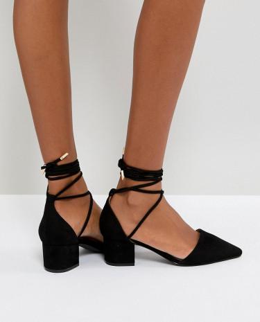 Fashion Shop - RAID Lucky Black Ankle Tie Mid Heeled Shoes - Black