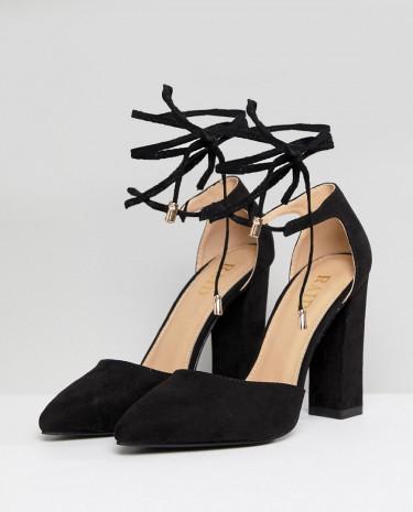 Fashion Shop - RAID Pamela Black Ankle Tie Block Heeled Shoes - Black
