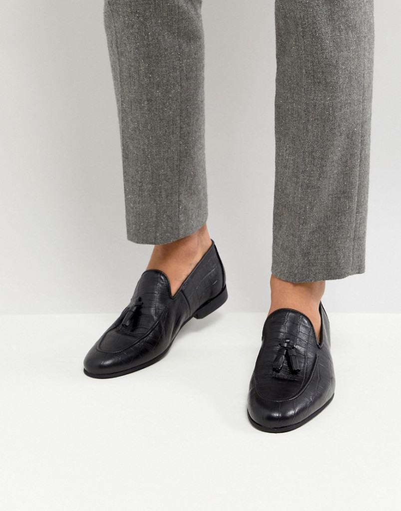 Fashion Shop - River Island Loafer With Tassels In Black Croc - Black