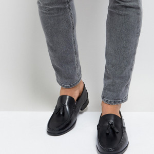Fashion Shop - Silver Street Wide Fit Tassel Loafers In Black Leather - Black