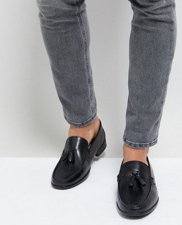 Fashion Shop - Silver Street Wide Fit Tassel Loafers In Black Leather - Black