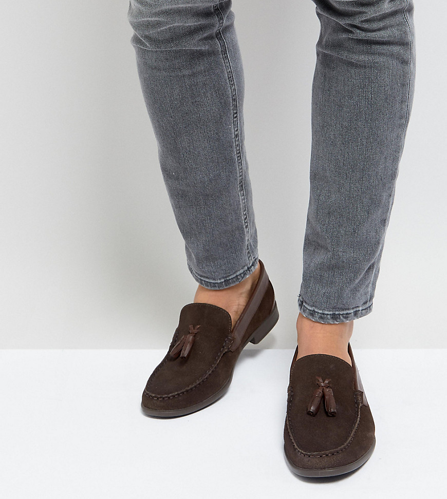 Fashion Shop - Silver Street Wide Fit Tassel Loafers In Brown Suede - Brown