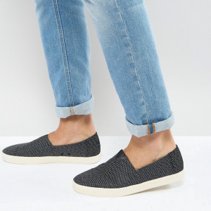 Fashion Shop - TOMS Avalon Plimsolls In Black - Black