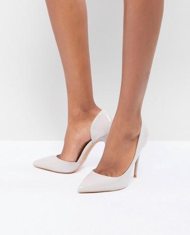 Fashion Shop - True Decadence Patent Cut Out Court Shoes - Beige